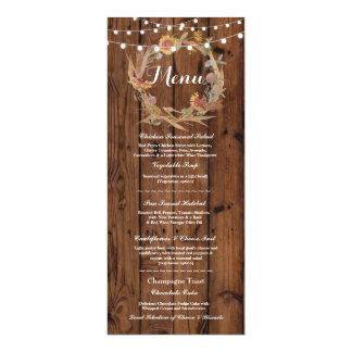 Lumières en bois rustiques d'automne de réception carton d'invitation  10,16 cm x 23,49 cm