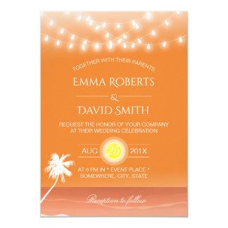 Lumières et palmier tropicaux de ficelle de carton d'invitation  12,7 cm x 17,78 cm