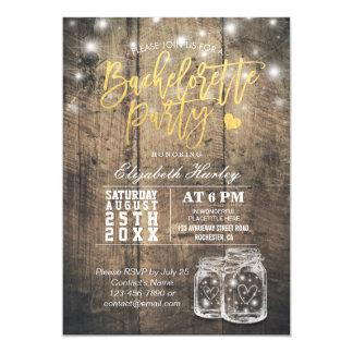 Lumières rustiques Bachelorette de ficelle de pot Carton D'invitation 12,7 Cm X 17,78 Cm
