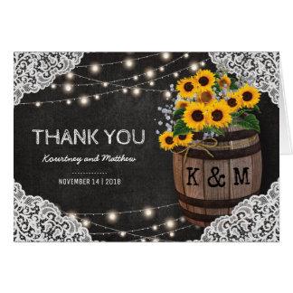 Lumières rustiques de ficelle du Merci | de Cartes De Vœux