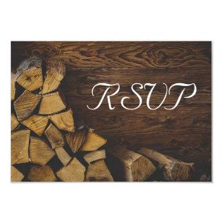 Lumières rustiques élégantes en bois du feu de carton d'invitation 8,89 cm x 12,70 cm