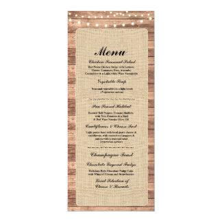 Lumières rustiques en bois de toile de jute de carton d'invitation  10,16 cm x 23,49 cm
