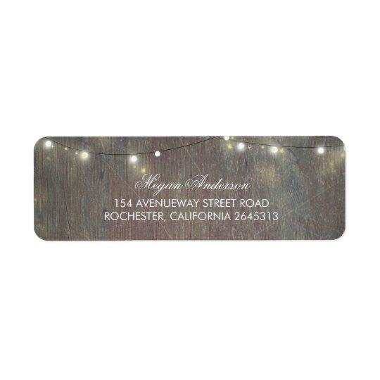 Lumières rustiques en bois et de ficelle étiquettes d'adresse retour