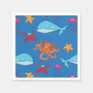 Lunatique sous la serviette de cocktail de mer, serviette en papier