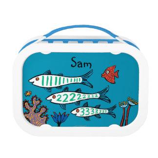 Lunch Box 1, 2, 3 poissons avec de petits poissons et corail