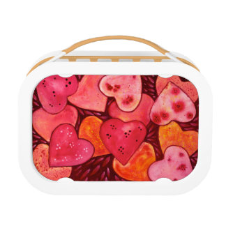 Lunch Box Belle gamelle rouge d'aquarelle de coeurs