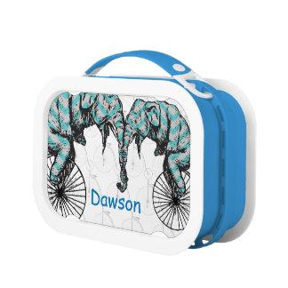 Lunch Box Bicyclette bleue personnalisée d'éléphant de