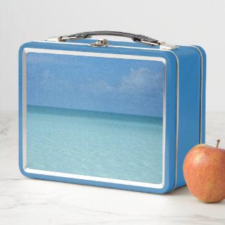 Lunch Box Bleu de turquoise tropical d'horizon des Caraïbes
