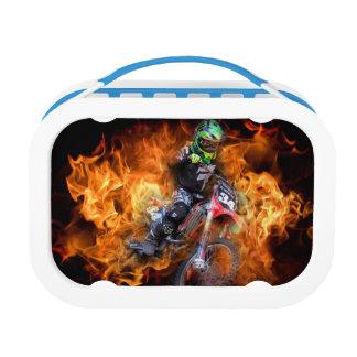 Lunch Box Cavalier de motocross emballant par le feu