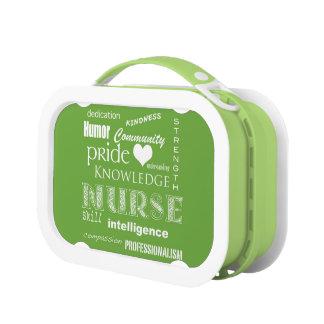 Lunch Box Fierté-Attributs d'infirmière/vert de chaux