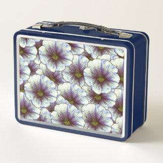 Lunch Box Fleurs blanches et rétro pourpre