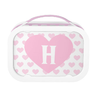 Lunch Box Grand coeur rose-clair - monogramme