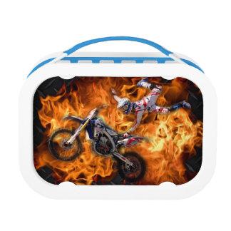 Lunch Box Haute mouche de cavalier de motocross de vol par l