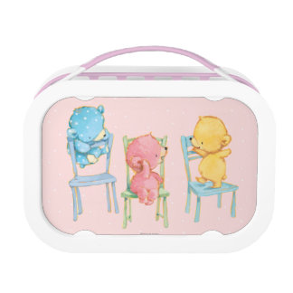 Lunch Box Jaune, rose, et bleu concerne des chaises
