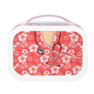 Lunch Box Les tortues de fleurs rouges et blanches médicales