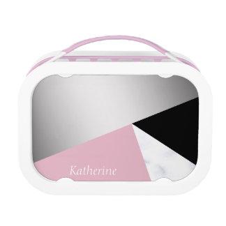 Lunch Box Noir rose de marbre blanc argenté géométrique