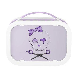 Lunch Box Os croisés accessoires de crâne et de ciseaux de
