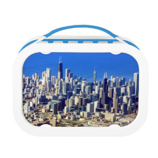 Lunch Box Vue aérienne de Chicago du centre avec le lac
