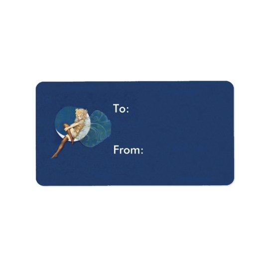 Lune bleue de bas féeriques assez bleus de cru étiquette d'adresse