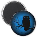 Lune bleue de hibou éffrayant magnets