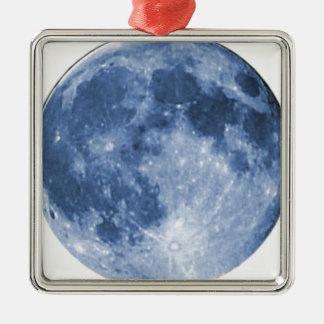 lune bleue ornement carré argenté