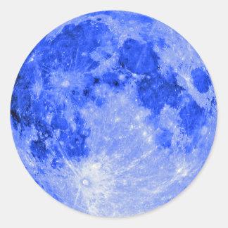 Lune bleue sticker rond