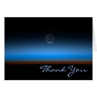 Lune de carte de note de Merci de l'espace