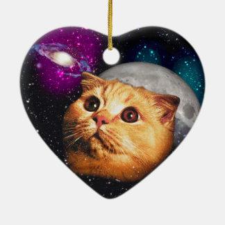lune de chat, chat et lune, catmoon, chat de lune ornement cœur en céramique