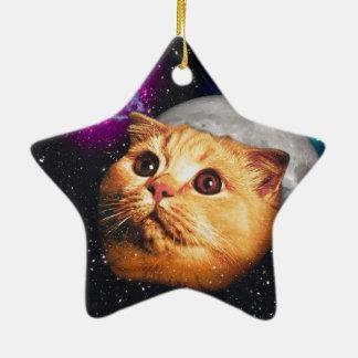 lune de chat, chat et lune, catmoon, chat de lune ornement étoile en céramique