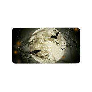 Lune de Halloween - illustration de pleine lune Étiquette D'adresse