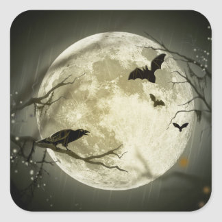 Lune de Halloween - illustration de pleine lune Sticker Carré