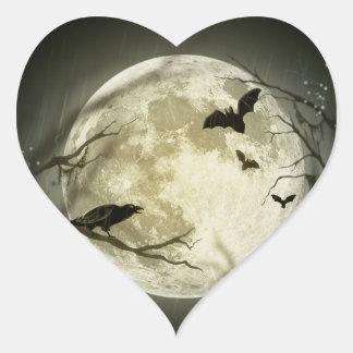Lune de Halloween - illustration de pleine lune Sticker Cœur