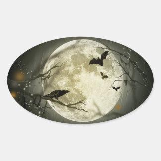 Lune de Halloween - illustration de pleine lune Sticker Ovale
