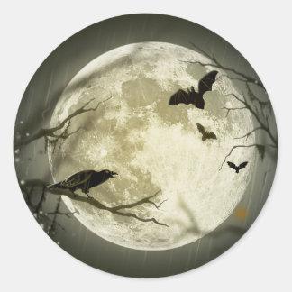 Lune de Halloween - illustration de pleine lune Sticker Rond