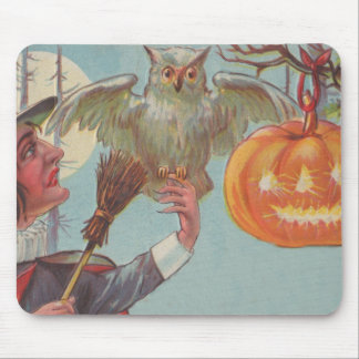 Lune de hibou de Jack-o'-lantern de balai de sorci Tapis De Souris