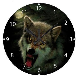 Lune de loup grande horloge ronde