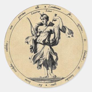 Lune de Luna de déesse Sticker Rond