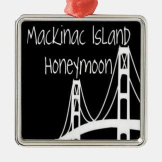 Lune de miel d'île de Mackinac Ornement Carré Argenté