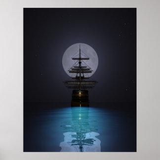 Lune de nuit de voilier d'océan posters