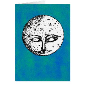 Lune de sommeil sur la carte bleu-vert