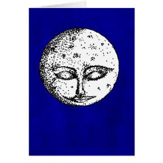 Lune de sommeil sur la carte bleue intense