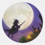 Lune de sorcière de Halloween pleine Adhésif Rond