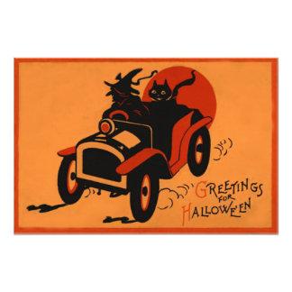 Lune de voiture de chat noir de sorcière pleine