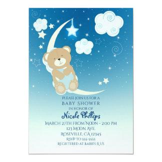 Lune d'ours de nounours et invitations de baby
