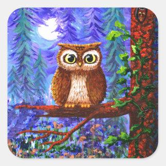 Lune drôle Creationarts lunatique de forêt de Sticker Carré
