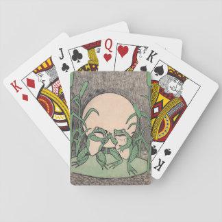 Lune drôle vintage de deux grenouilles vertes cartes à jouer