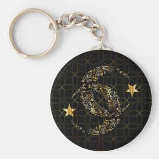 Lune et étoile florales islamiques porte-clé rond