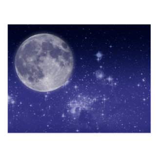 Lune et étoiles brillantes cartes postales