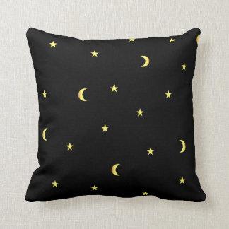 Lune et étoiles d'or coussins carrés