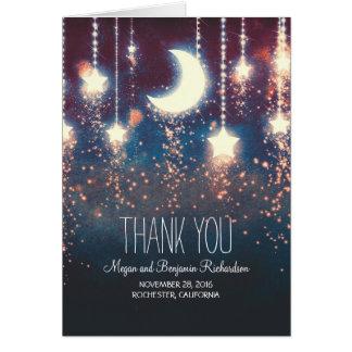 Lune et étoiles enchantées épousant le Merci Cartes De Vœux